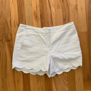 High waisted, off white, scalloped shorts